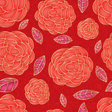 Rose red drawing color bright seamless pattern Royalty Free Stock Photography