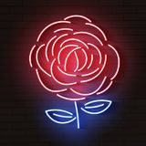 Rose red glowing neon icon. Glowing sign logo. Vector vector illustration