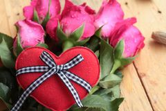 Rose with red hearts for Valentine's Day. Royalty Free Stock Photos