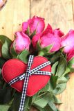 Rose with red hearts for Valentine's Day. Royalty Free Stock Images