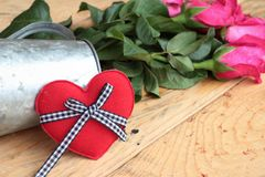 Rose with red hearts for Valentine's Day. Stock Image