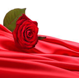 Rose on red silk Royalty Free Stock Photo