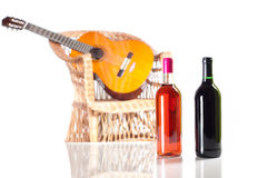 Rose and red wine bottle Royalty Free Stock Photos