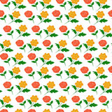 Rose Red Yellow Colorful Seamless Pattern Stock Images