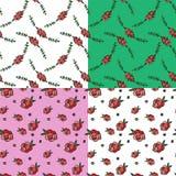 Rose Repeating Seamless Pattern disegnata a mano Fotografia Stock