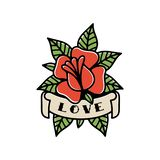 ROSE AND RIBBON LOVE TRADITIONAL TATTOO COLOR vector illustration