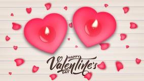 Rose roja Bandera del día de tarjetas del día de San Valentín con las letras de la escritura, las velas románticas y los pétalos  ilustración del vector