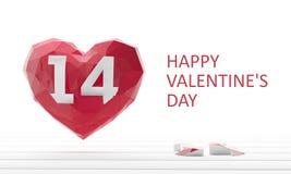 Rose roja Corazón 3d rinden la ilustración Fotografía de archivo libre de regalías