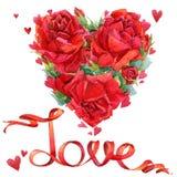 Rose roja Corazón rojo y rosas rojas watercolo Fotografía de archivo libre de regalías