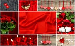 Rose roja Corazones rojos, flores color de rosa, decoración Imagenes de archivo