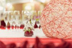 Rose roja dentro del vidrio Imágenes de archivo libres de regalías