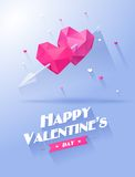 Rose roja Dos corazones pican y violeta encendido ilustración del vector