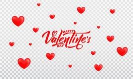 Rose roja Fondo romántico con brillante Corazones y letras de día felices del ` s de la tarjeta del día de San Valentín Fotografía de archivo