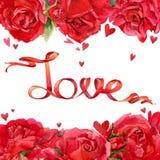Rose roja Rosas rojas y fondo del corazón y de la cinta rojos Imágenes de archivo libres de regalías