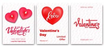 Rose roja Sistema de los carteles para la venta del ` s de la tarjeta del día de San Valentín, el promo etc Carteles de moda con  Fotografía de archivo libre de regalías