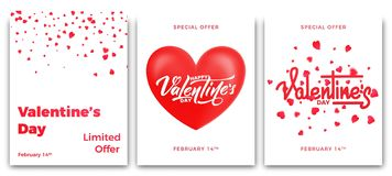 Rose roja Sistema de los carteles para la venta del ` s de la tarjeta del día de San Valentín, el promo etc Carteles de moda con  Foto de archivo libre de regalías
