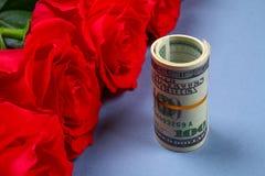 Rose rosa con le banconote in dollari invece di un regalo Modello per l'8 marzo, festa della Mamma, San Valentino Immagini Stock Libere da Diritti