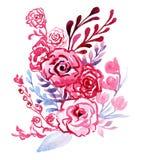 Rose rosa con le foglie decorative blu illustrazione di stock