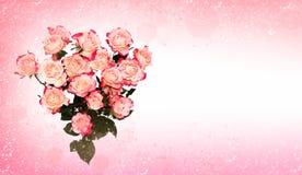 Rose rosa del fiore nel cuore Fotografie Stock Libere da Diritti