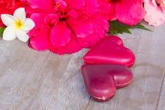 Rose rosa scure con i cuori e l'etichetta Fotografia Stock