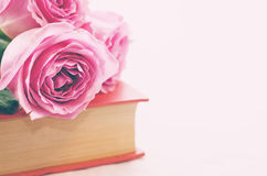 Rose rosa su un libro Fotografia Stock Libera da Diritti