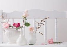 Rose rosa sullo scaffale bianco di legno d'annata Immagine Stock