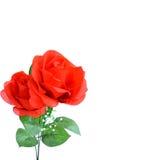Rose rosse artificiali isolate su fondo bianco Immagini Stock
