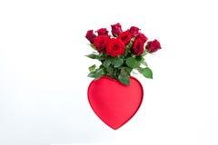 Rose rosse con cuore Fotografia Stock Libera da Diritti