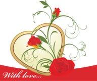 Rose rosse con l'ornamento floreale ed il cuore dorato Immagine Stock Libera da Diritti