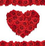 Rose rosse del wih della cartolina sotto forma del cuore. Immagini Stock Libere da Diritti