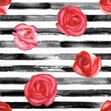 Rose rosse e bande del nero illustrazione di stock