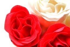 Rose rosse e bianche del sapone Fotografia Stock
