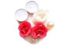 Rose rosse e bianche del sapone fotografia stock libera da diritti