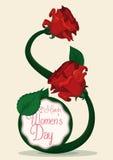 Rose rosse e gambo con la forma di Eight per la celebrazione del giorno delle donne, illustrazione di vettore Fotografie Stock Libere da Diritti