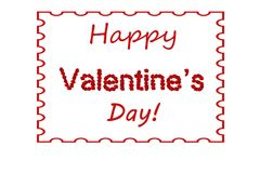 Rose rosse felici di giorno del ` s del biglietto di S. Valentino che segnano fondo con lettere incorniciato Immagini Stock Libere da Diritti