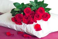 Rose rosse su un cuscino bianco Immagini Stock