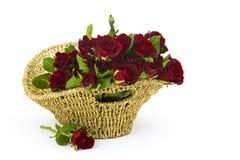 Rose rosse in un canestro Fotografia Stock Libera da Diritti