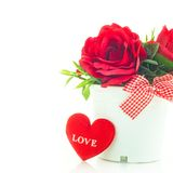 Rose rosse in un vaso Fotografia Stock