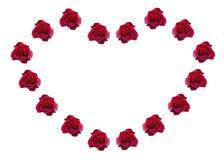 Rose rosse in una forma di cuore. Fotografia Stock