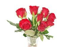 Rose rosse in vaso Immagine Stock