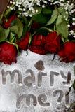"""Rose rosso scuro e segno """"Marry del  di Me†Fotografia Stock Libera da Diritti"""