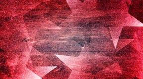 Rose rouge abstrait et modèle rayé et blocs ombragés par fond gris dans les lignes diagonales avec le rose rouge de cru et la tex photographie stock