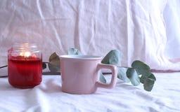 Rose rouge Bougie, café, branche d'eucalyptus Fond de toile rose Concept d'amour photographie stock libre de droits