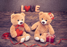 Rose rouge Coeur d'amour de Word Couples Teddy Bears Photos libres de droits