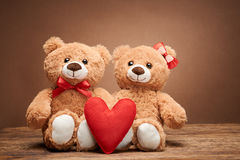 Rose rouge Coeur de rouge d'amour Couples Teddy Bears Photos libres de droits
