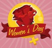 Rose rouge dans un symbole de femmes et un ruban d'or, illustration de vecteur Photographie stock libre de droits