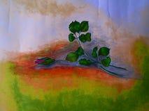 Rose rouge de peinture acrylique illustration libre de droits