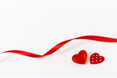 Rose rouge Deux coeurs Amour Photographie stock libre de droits
