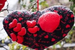 Rose rouge protections molles de coeurs accrochant sur une corde Photo libre de droits