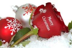 Rose rouge qui dit le Joyeux Noël là-dessus Photos stock